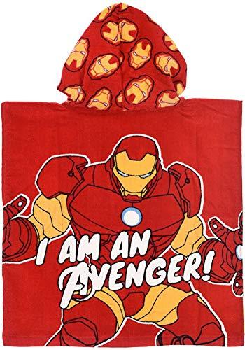 Coole-Fun-T-Shirts Avengers Ironman Poncho Bademantel für Jungen Rot Handtuch Strand Freibad Schwimmen