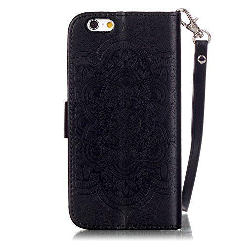 Nutbro iPhone 6s Case,4.7 inch Wallet Case, Premium PU Leather Flip Case for iPhone 6 Case,with Built-in Credit Card Slots Magnetic Flip Cover for iPhone 6s 4.7 inch Black