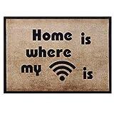 Fußmatte Mein Wifi 50x70 cm groß Waschbar für Außen Innen, Lustige Schmutzfangmatte Beige Rutschfest ohne Trittrand, Teppich für Haustüre Flur Wohnzimmer, Home is where my Wifi is Fußabtreter Geschenk