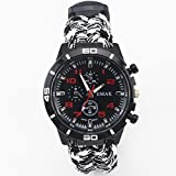 Techlife Paracord Watch With Tactical Compass, Paracord Thermometer, Whistle Multifunction Camping Band Survival Bracelet