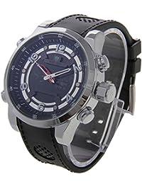 HITSAN WEIDE WH3315 Digital LCD Dual Time Date Display Alarm Wristwatch 30m Waterproof PU Rubber Strap Quartz...