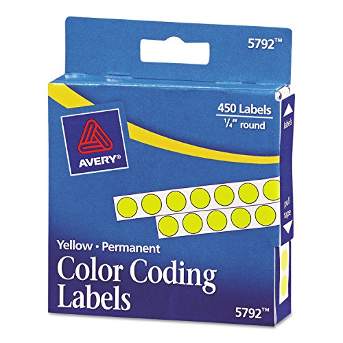 Permanent Self-Adhesive Color-Coding Labels, 1/4in dia, Yellow, 450/Pack, Sold as 1 Package