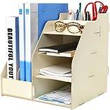 MyGift - Organizador de escritorio con dos compartimentos para documentos/revistas, baldas  y lapicero
