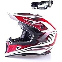 Viper RS-X95RAZR CARBON Enduro MX Quad ATV Off Road Motocross Casco colore rosso con occhiali, S
