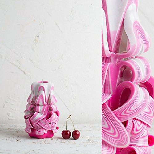 Dekorative geschnitzte Kerze - handgefertigte Skulptur - klein, rosa und weiß - leuchtende Farben - (Dekorationen Hausgemachte Ideen Halloween)