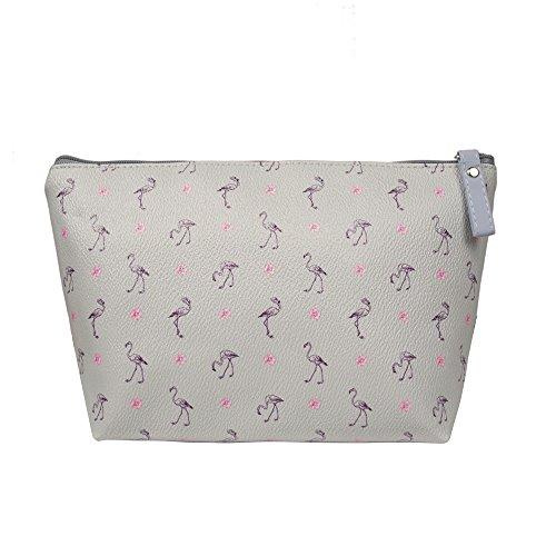 TaylorHe Make-up Bag Kosmetiktasche Schminktasche Kulturbeutel Geldbeutel Beutel Mehrfarbig Tasche mit Mustern Flamingos grau