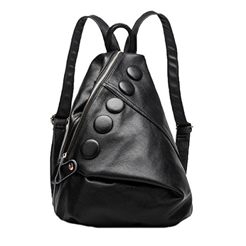 Antik Leder Gepäck (Damen Echtes Leder Rucksack Medium Cool Style Umhängetasche Mit Fünf Tasten,Black-M)