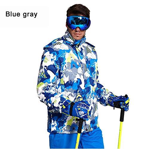 Aiya Skibekleidung für Herren mit wasserdichter Skijacke Winter Outdoor Ski Tight Schneeanzug,bluegray,M