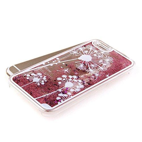 Voguecase® für Apple iPhone 5C , Flüssig Fließende Sparkly Bling Glitzer Stern Treibsand Star Quicksand (Harte Rückseite) Hybrid Hülle Schutzhülle Case Cover (Silber/Löwenzahn) + Gratis Universal Eing Rot/Löwenzahn 12