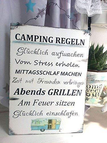 Camping Regeln Holzschild im Shabby Vintage Style Größe 297 mm x 210 mm, Weiß/Blau