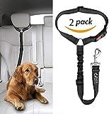 Headrest dog car seat belt 2 Pack Adjustable Durable Headrest Seat belt Pet Dog Car Safety Harness Restraint with Elastic Nylon Bungee Buffer (Black)