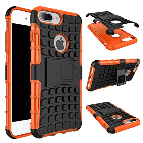 Cover iPhone 7 Plus,iPhone 8 Plus Coque,Valenth Rugged Heavy Duty Back Etui Shell pour iPhone 8 Plus / iPhone 7 Plus Orange