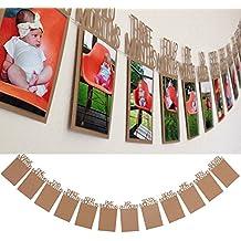 Kicode 1-12 meses bebé 1er cumpleaños Ducha de marco de fotos Bandera de Bunting Decoración de la fuente del partido con la cuerda