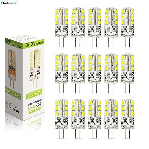 Elinkume 15 Pack 3W G4 24 SMD 2835 LED Energy Saving Bulbs Cool White(6000-7000K)DC12V