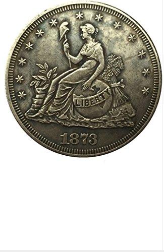 Bespoke Souvenirs Rare Antique United States 1873 Seated Liberty Silver Color Trade Dollar Coin Seltene Münze