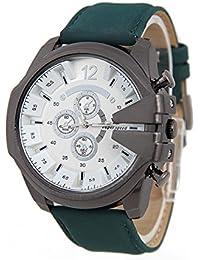 Reloj de pulsera - V6 Reloj de pulsera de cuero de imitacion de esfera para hombres(correa verde y caja blanca)