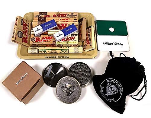 Trendz RAW Geschenkset im 70er-Jahre-Design mit kleinem Metalltablett zum Zigarettendrehen für Sie und Ihre Lieben mit Mont Cherry Box Bindi