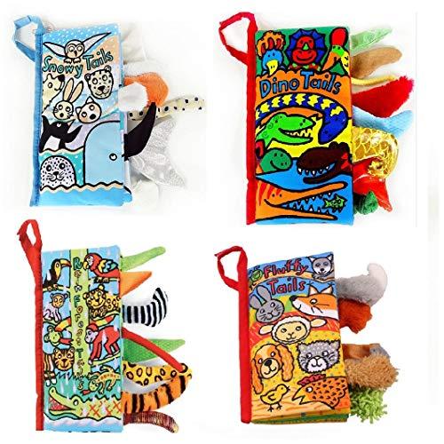 RichDeer 4 STÜCKE Beste Weiche Stoff Baby Bücher Aktivität Crinkle Tier Baby Tuch Buch Schwanz Bunte Handgemachte Pädagogische Interaktive Spielzeug für Boy & Girl (Farm Tails)