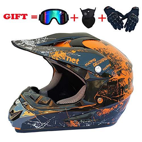 ZJRA Orange Retro/Motocross Helm, Beach Racing Dirt Bike Helm Adult MX Fox Männer Und Frauen ATV, DOT (Handschuhe, Brillen, Masken, 4Er Set),M56~57CM (Dirt Helme Racing Fox Bike)