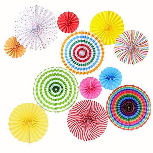 Dekorative Papierfächer im mexikanischen Stil–bunte, runde Fächer–Dekoration für Party/Hochzeit/Geburtstag/Festival/Weihnachten/Event, 12 Stück (Mexikanische Dekorationen)