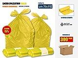 SCONTO 15% !! SACCHI SPAZZATURA GIALLI IN PLASTICA PE-LD Cm 70x110 (110 litri) - SCATOLA DA 300 SACCHETTI
