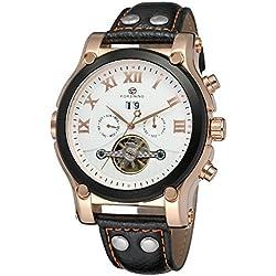 Forsining Men's Stylish Style Automatic Movement Tourbillon Day Calendar Leather Wrist Watch FSG588M3T1