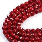 AqBeadsUk Semi-Precious Energia Cristallo pietre con una capacità di guarigione naturale - Premium autentico corallo rosso 7mm rotondo sfaccettato gemma gioielleria Perle su 16 pollici