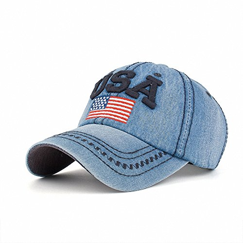 Unisex Classic Vintage USA American Flag Embroidery Washed Denim Baseball Cap Adjustable Low Profile Dad Hat