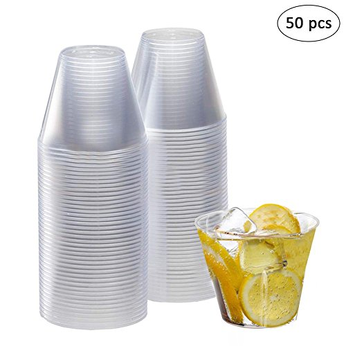 Plastikbecher Einwegbecher hart Plastik duchsichtig transparent stapelbar Party Haushalt Trink Becher Wasser Whiskey Cocktail Gläser pro Stück 200ml - Trink Gläser Wasser