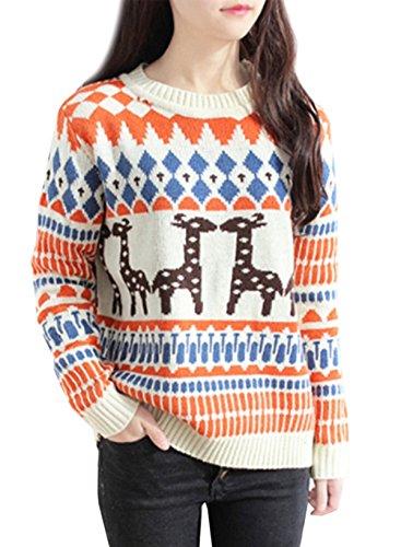Azbro Women's Cute Reindeer Crew Neck Knitted Christmas Sweater Beige