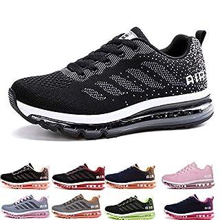 frysen Herren Damen Sportschuhe Laufschuhe mit Luftpolster Turnschuhe Profilsohle Sneakers Leichte Schuhe Black White 46