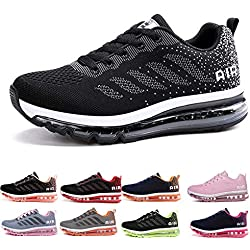 Homme Femme Air Baskets Chaussures Gym Fitness Sport Sneakers Style Running Multicolore Respirante Black White 43