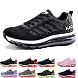 Uomo Donna Air Scarpe da Ginnastica Corsa Sportive Fitness Running Sneakers Basse Interior Casual all'Aperto Black White 43