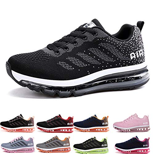 Uomo Donna Air Scarpe da Ginnastica Corsa Sportive Fitness Running Sneakers Basse Interior Casual all'Aperto Black White 44
