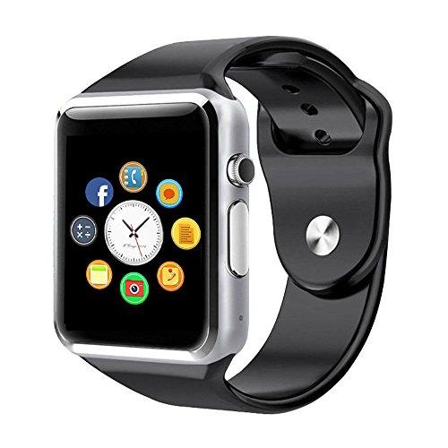 Reloj Inteligente, CulturesIn Pulsera con Pantalla Táctil Bluetooth con Cámara/Ranura para Tarjeta SIM/Análisis de Podómetro para Android (Funciones Completas) y para IOS (Funciones Parciales)(black)