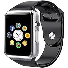 Reloj Inteligente, CulturesIn Pulsera con Pantalla Táctil Bluetooth con Cámara/Ranura para Tarjeta SIM/Análisis de Podómetro para Android (Funciones Completas) y para IOS (Funciones Parciales)