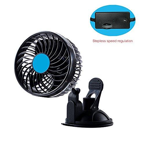Preisvergleich Produktbild JW-CF ZFIN Auto Ventilator mit Stufenlos, Saugnapfmontage und 12V-Anschluss. Leiser Lauf trotz leistungsfähigem Motor (Stufenlos, 12cm, 12V)
