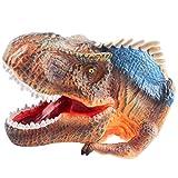 deAO Cabeza de Dinosaurio Marioneta de la Era Jurásica Hecha de Goma Suave Juguete de Simulación Realista (Giganotosaurus Marrón)