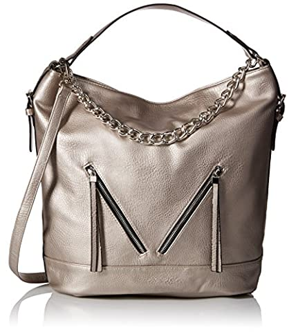Dolce Girl Convertible Hobo with Chain Convertible Shoulder Bag, Silver,