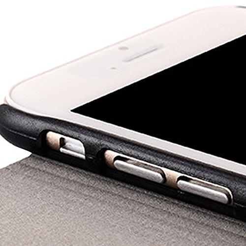 wkae Schutzhülle Fall und Abdeckung Denim Textur Horizontal Flip Leder Case mit Halter für iPhone 6Plus & 6splus grau