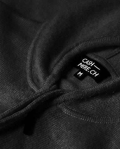 100% Kaschmir Damen Kapuzenpullover | Hoodie mit Reißverschluss (Schwarz, XL) - 4