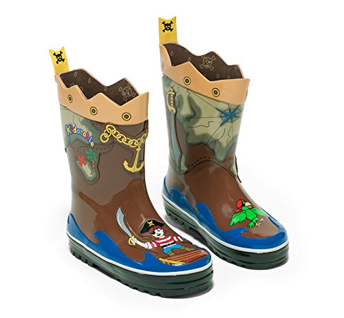 Kidorable Pirate Brown Natural Rubber Rain Boots w/Fun Crossbones Pull On Heel Tab