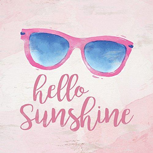 Hello Sunshine Sonnenbrille Watercolor Look 3x Holz 3, inspirierende Magnet