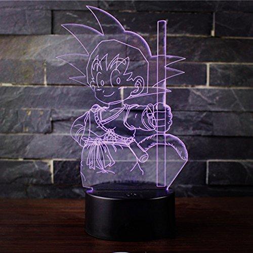 Preisvergleich Produktbild 3D Optische Illusions-Lampen Win-Y LED-Schreibtisch Tischlampe 7 Farb-Touch-Lampen-Ausgang Schlafzimmer-Büro-Dekor für Kindergeburtstag Weihnachtsgeschenk (Dragon Ball B)