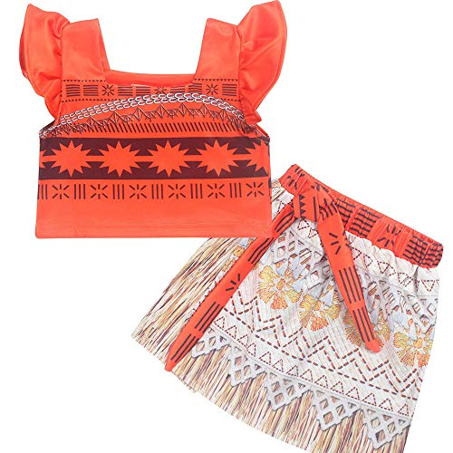 Ears Baby Clothes Summer Baby Girl Outfits Clothes 1PC Tops+1PC Skirt Toddler Kids Baby Girl Sleeveless Princess Skirt Sets Clothes Dress up Outfits (130, Orange) (Outfits Dress Up Kids)