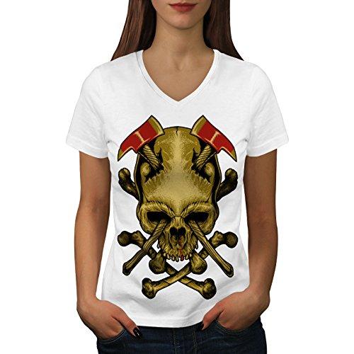 wellcoda AXT Tod Gote Krieg Schädel Frau L V-Ausschnitt T-Shirt