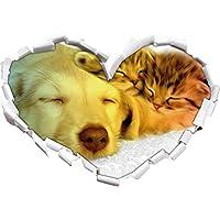 cucciolo carino rannicchia con adorabile gattino a forma di cuore nero / bianco in formato sguardo, parete o adesivo porta 3D: 92x64.5cm, autoadesivi della parete, decalcomanie della parete, Wanddekoratio