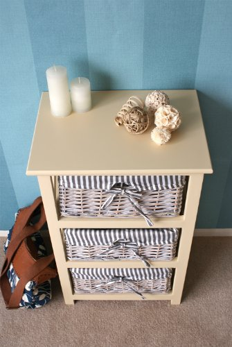 The Functional Selsey 3 Drawer Wicker Storage Wooden Unit / Chest Of Drawers - With Fabric Lined Removable Baskets - FREE DELIVERY