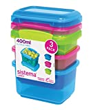 Sistema Lunch Food Storage Container, 400 mL, Pack of 3 - Assorted Colours