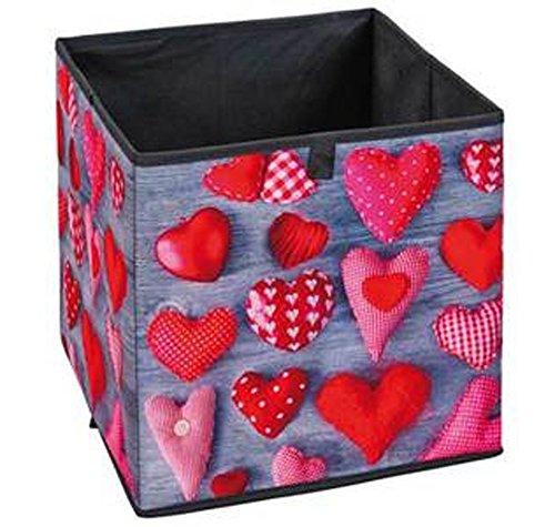 Bac de rangement pliable Heart, 32 x 32 x 32 cm -PEGANE-